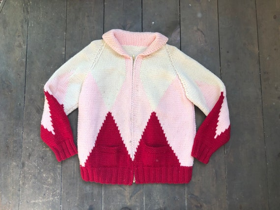 Vintage Hand Knit Sweater || Pink Knit Sweater ||