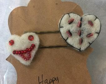 Beaded Felt Heart Hair Pins