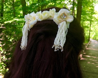 Pearl and Rhinestone Bridal Hair Comb with Roses