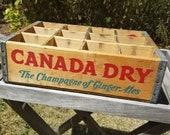 Vintage Canada Dry Beverages Wooden Crate, Man Cave, Rustic Home Decor, Garage, Antique Box, Retail Display, Photo Prop, Shadow Box, Set Dec