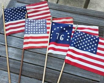 Vintage U.S. Parade Flag, 50 Star Flag, 48 Star Flag, Bennington Flag, Parade, Office, Man Cave Decor, Patriotic Collectable, Retail Display
