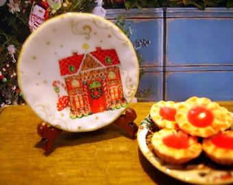 Christmas Scene  Miniature Plate 1:12 scale