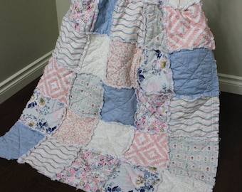 Baby Girl Quilt, Floral, Blue Pink, Shabby Chic, Rag Quilt, Flower Baby Quilt, Pink Baby Blanket, Crib Bedding, Baby Quilt, Ready To Ship