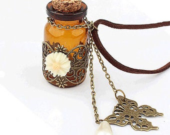 Glass Wishing Bottle  and Butterfly ,And Zipper Pull