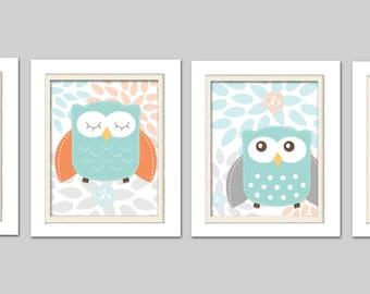 Nursery Owl Quad, Grey and Orange Nursery, Set of 4, 8X10