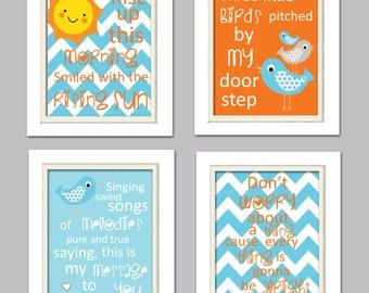 Bird Nursery Art, Teal and Orange Nursery, Three little birds, Bird Nursery, Set of 4 8X10, Orange, Teal, Grey
