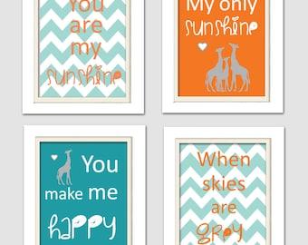 Nursery Quad, Blue and Orange Nursery, You are my sunshine, Giraffe Nursery, Set of 4 8X10, Orange, Blue, Grey