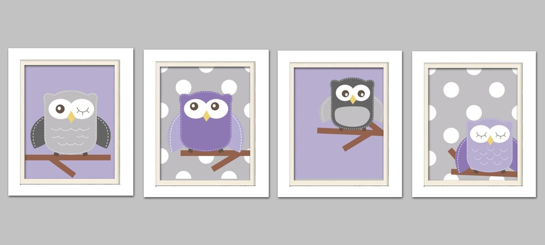 nursery quad purple and gray nursery owl nursery set of 4 etsy. Black Bedroom Furniture Sets. Home Design Ideas