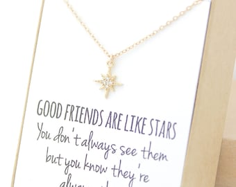 Gold Star Necklace - Gold Star Necklace - Tiny Gold Necklace - Long Gold - Simple - Layering - 14K gold filled Bridesmaid Gift Jewelry