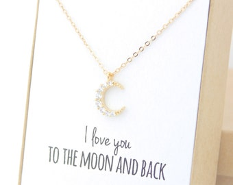 Anniversary Gift - Gold Crescent Moon Necklace - I love you to the moon and back necklace - Tiny Delicate Crystal Cubic Zirconia CZ