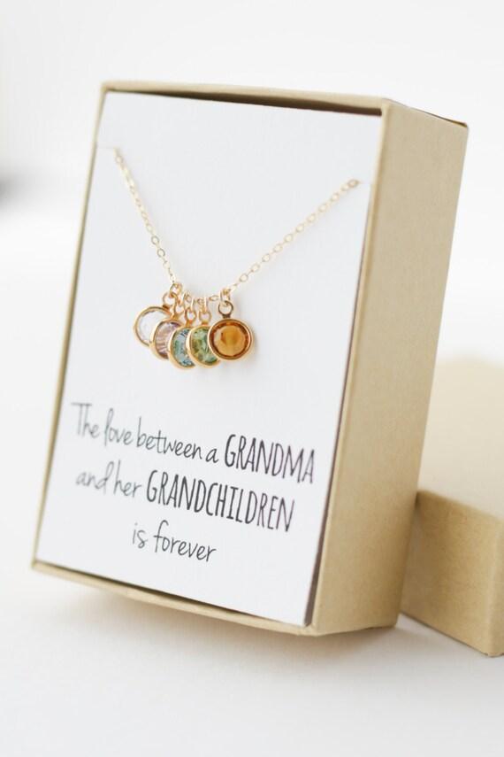 Geburtsstein Anhänger Halskette für Oma Geschenke für Oma | Etsy