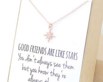 Rose Gold Star Necklace - Cubic Zirconia Charm - 14K Rose Gold Filled - Sparkly Star - Simple Rose Gold - Bridesmaid Gift - Wedding Gifts