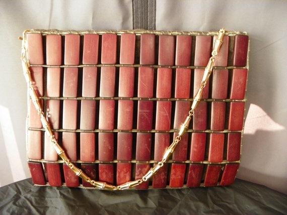 Vintage Wooden Tile Purse with Gold Chain Strap