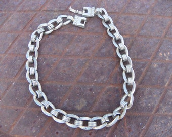 Vintage Silver Tone Chunky Link Choker Necklace