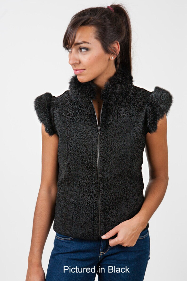 Baby Lambskin  Shearling Lara Vest