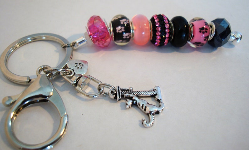 Cat on scratch post European single leg style charm paw prints crystal spacers key chain purse charm car ornament Help save a catkitten