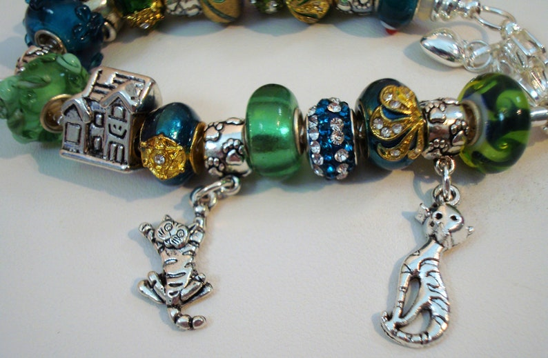 Foster Cat Home European glass Murano gold metal turquoise peridot beads Paw prints cat charm bracelet You pick size Help save a catkitten