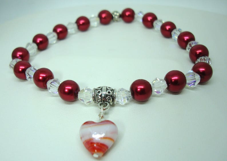Murano glass heart Pet Dog Cranberry pearls clear AB crystals Cat stretch Necklace Jewelry Neck Ware Handmade Help save a catkitten