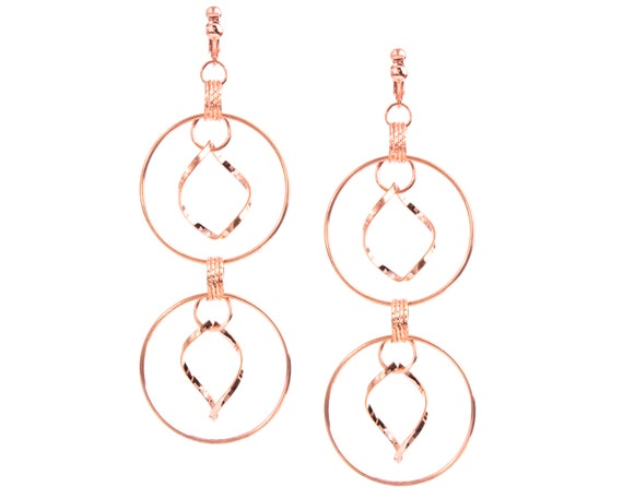 Round Dangle Clip on Earrings or Hook Rustic Coil Jewelry Pink Morganite Gemstone Earrings Earthy Artisan Earrings Large Copper Earrings