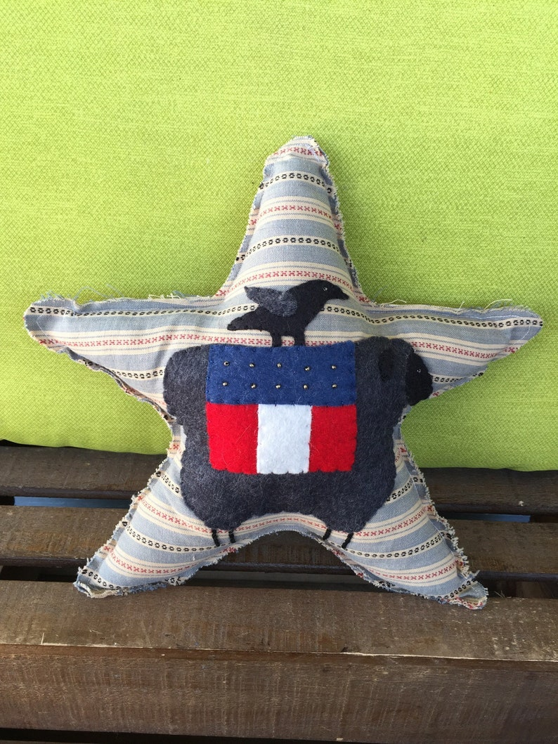 bowl filler July 4th Handmade Small pillow Dark Grey Sheep Star Patriotic star pillow Star Independence Day Primitive America