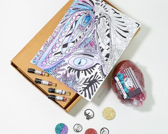 THE PRIESTESS Mystery Box Vegan Beauty Jewelry Rune Rings Glitter Natural Perfume Highlighters Handmade Makeup