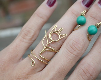 Brass Wire Tulip Ring, Handmade Boho Flower Above Knuckle Ring Jewelry