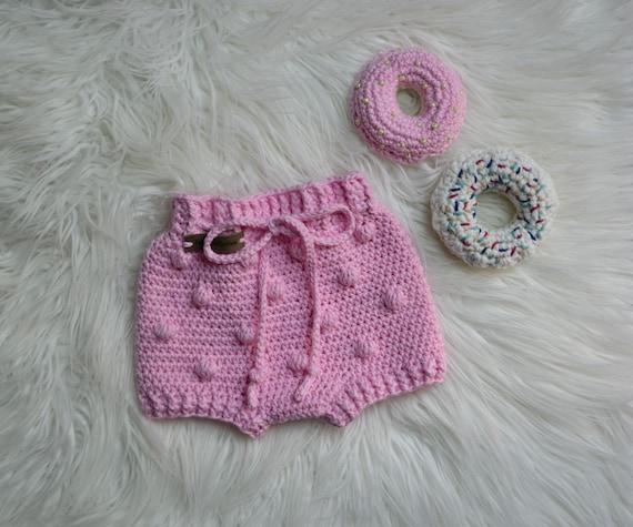 baby crochet bloomers,pink pop corn bloomers,baby crochet photo prop,kids crochet shorts,crochet diaper cover,toddler crochet bloomers pink.