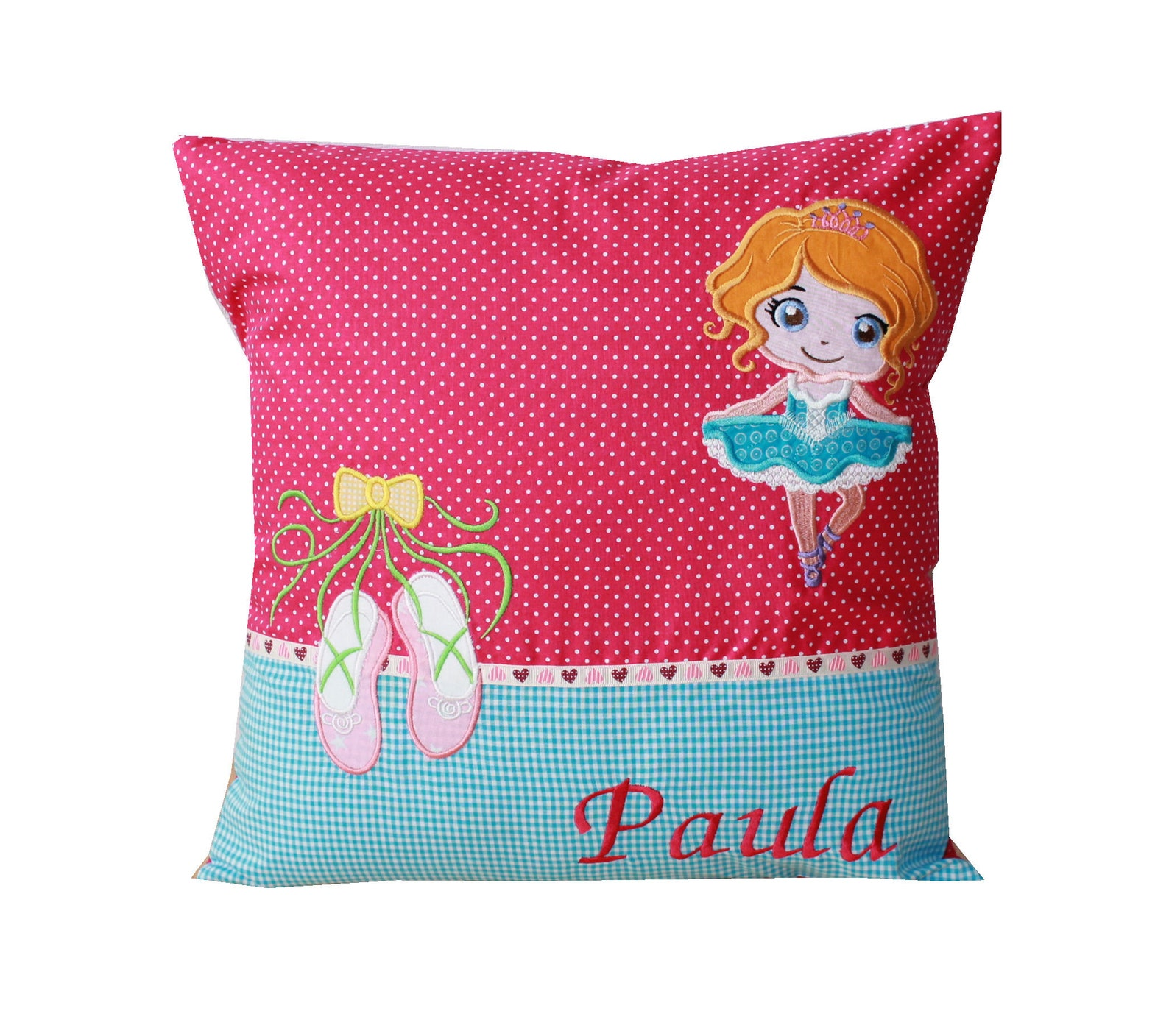 personalized name pillow, cuddly pillow with ballerina, ballet shoes and wish name