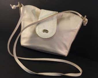 Vintage Aigner Handbag, White Crossbody Bag, Leather Etienne Aigner Designer Handbag, Faux Reptile Tab, Purse, Shoulder Bag, 1990s, Ivory