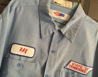 Embroidered vintage name tag patch sew-on for work shirt uniform.