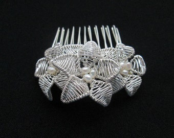 Tiny Handcrafted  Floral Bridal Hair Comb with freshwater  pearls. Boho-Chic with a touch of Romance.