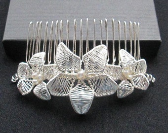 Handcrafted  Floral Bridal  Hair Comb with freshwater  pearls. Bohemian with a touch of Romance.
