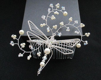 LIBELLE: Hand crafted Dragonfly Bridal Hair Comb with Swarovski crystals and pearls. Very Bohemian with a touch of Romance.