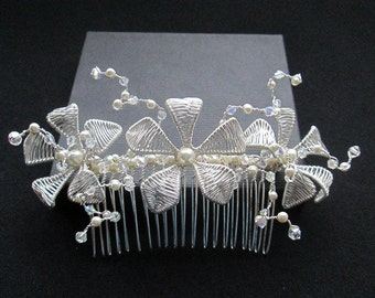 Hand crafted Floral Bridal Hair Comb with Swarovski  crystals and pearls. Boho-Chic with a touch of Romance.
