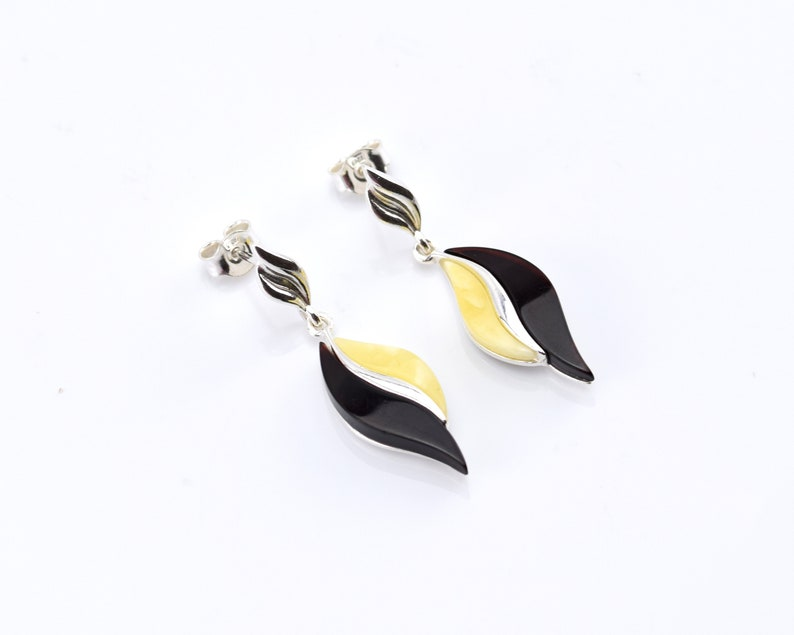 amber stud earrings sterling silver earrings with natural Baltic amber gemstone earrings cherry amber earrings amber screw back earrings