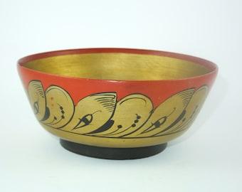 Vintage Folk Art Russian Lacquer Bowl - USSR Khokhloma Russian Folkart Bowl, CCCP