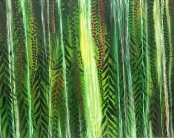 Rain Forest Art Print / Waterfall Giclee Print / Print from Original Oil Painting / Tropical Art Print