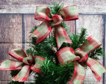 8 red and green burlap bows rustic bows christmas bows christmas tree bows - Christmas Tree Bows
