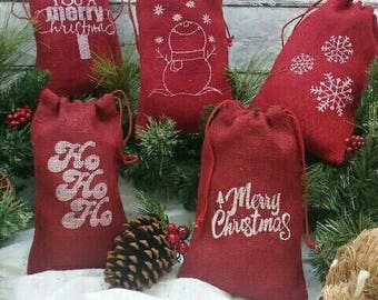 red burlap christmas gift bags merry christmas ho ho ho snowflakes snowman wish you a merry christmas burlap bags - Christmas Burlap