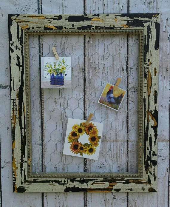 Wooden Chicken Wire Frame Memo Picture Board Card Holder 11x14
