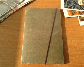 Folktale file (s)pond or bird, lined and blank notebook using recycled paper, kraft paper and soy ink printing