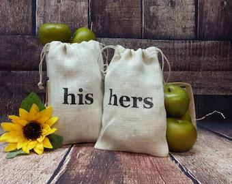 His and Hers Burlap Bags, Rustic Gift Bag, Wedding, Shower Gift, Dance Bag