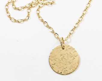 Hand Stamped Gold Pendant - Circle Necklace For Women - 14 Karat Gold Fill Circular Pendant - Metalwork - Chain -Gift For Her - Pendants