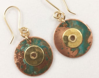 Patina Circular Earrings - Brass And Copper - Drop And Dangle - French Wires - Metal Art - Her Gift - 14 Karat Gold Fill Ear Wires Earthy
