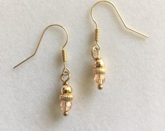 Peach & Gold Earrings - 14 K Jewelry - French Wires - Gold And Swarovski Crystal  - 14 karat Ears -  Gold Jewelry - Feminine Earrings