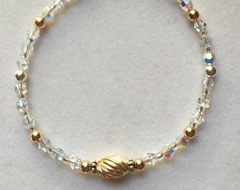 Yellow & Rose Gold Fill - Sterling Silver Swarovski Crystal - Crystal Bracelet - Gift For Her - Two Tone Bracelet - Birthday Gift
