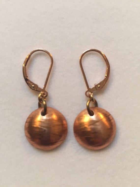Rose gold copper circle long earrings