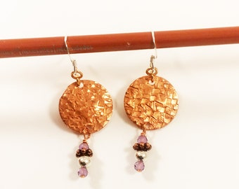 Copper Circle Amethyst Earring - Sterling French Wire - Hand Textured Circular Drop Earrings  Copper Silver Earring - Metal Textured Ear