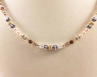 Gold Silver Pearl Necklace - Swarovski Crystals - Natural Stones - Multi-Color - Birthday - Wedding - Mothers Day Gift