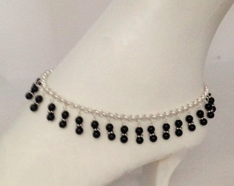 Black Onyx Silver Anklet - Stone  Bohemian  - Bridesmaid - Barefoot Anklet - Sterling Chain Bracelet - Brides Honeymoon - Sexy Ankle Wear